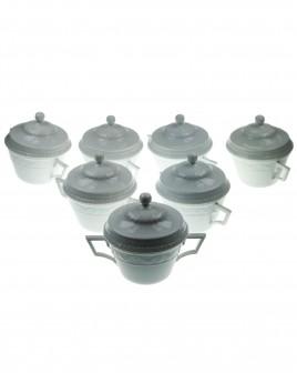 KPM Porcelain Service: Soup cups with lid - KURLAND 00 white