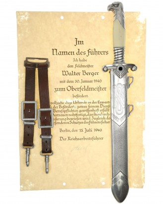 &copy DGDE GmbH - RAD Leader Dagger with hanger and Konstantin Hierl certificate - Alcoso Solingen