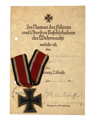 German 1939 Iron Cross 2nd Class with Award Document