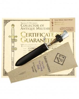© DGDE GmbH - Souvenir Knife «Reichsparteitag Nürnberg 1935» with Original Paper Sack by Puma Solingen