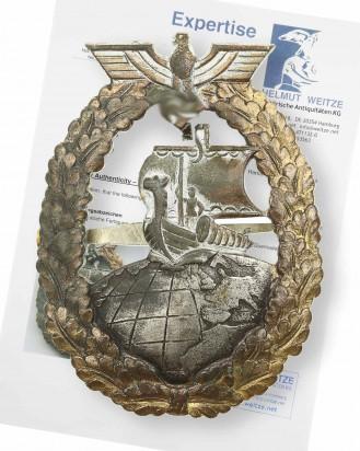 © DGDE GmbH - Kriegsmarine Auxiliary Cruiser War Badge by Bacqueville Paris