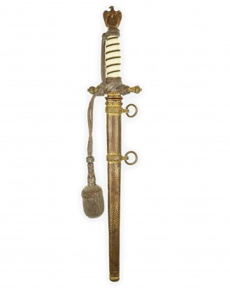 © DGDE GmbH - Navy Officer Dagger [2nd Model] with Navy-Knot & Hammered Scabbard by Alcoso Solingen