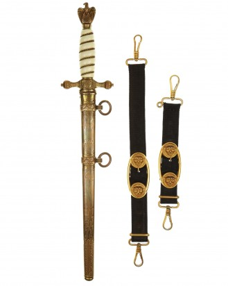 © DGDE GmbH - Navy Officer Dagger [2nd Model] with Hangers by F.W. Höller Solingen