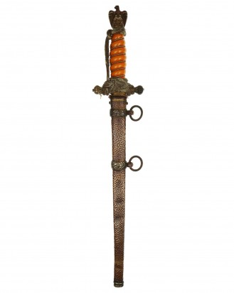 © DGDE GmbH - Navy Officer Dagger [2nd Model] with Knot and Hammered Scabbard by WKC Solingen
