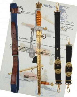&copy DGDE GmbH - Kriegsmarine Offiziersdolch mit gehämmerter Scheide, Gehänge & Portepee – WKC Solingen