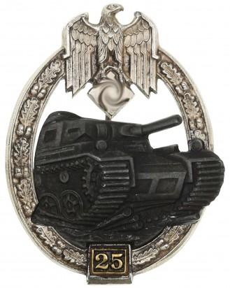 &copy DGDE GmbH - Panzerkampfabzeichen in Silber mit Einsatzzahl «25» - Gustav Brehmer