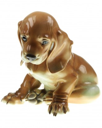 &copy DGDE GmbH - Sitting Young Dachshund Painted Allach No. 2 – Theodor Kärner