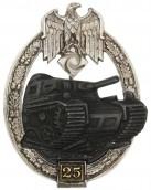 Panzerkampfabzeichen in Silber mit Einsatzzahl «25» - Gustav Brehmer