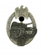 Tank Badge Grade II (for 25 engagements) – Silver - G.B. Gustav Brehmer, Marneukirchen