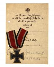 Документы и Железный крест 2-го класса 1939 г.