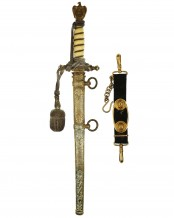 Navy Officer Dagger with Damascus Blade and Ivory Grip by WKC Solingen