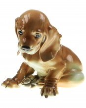 Sitting Young Dachshund Painted Allach No. 2 – Theodor Kärner