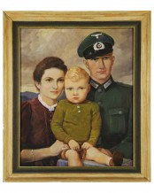 Wehrmacht soldier with family - Large oil painting by Guido Waid